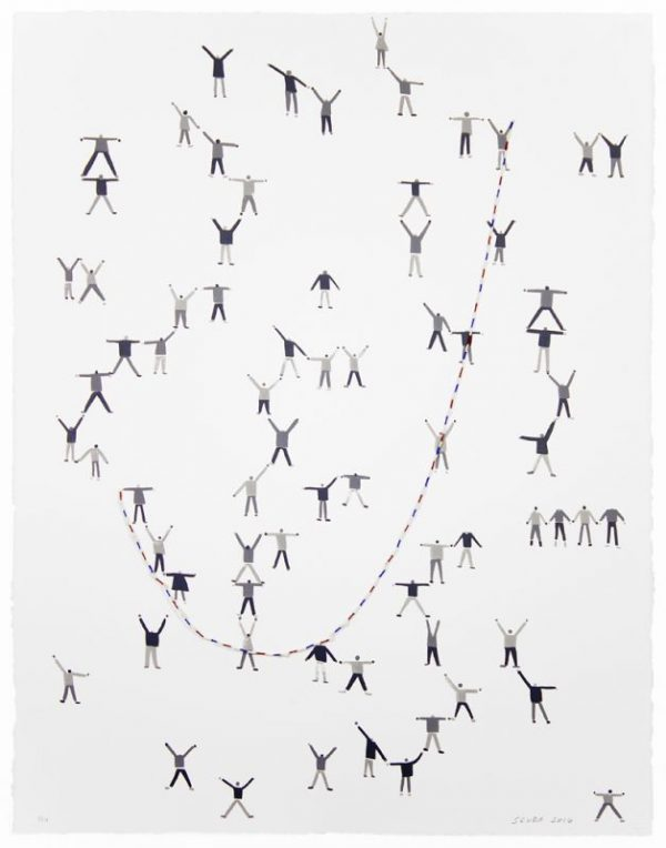 Three-color lithograph with hand-painted collage element by SCUBA: Sandra Wang and Crockett Bodelson. A collaged piece of white, blue, and red twine forms a curve hook shape from lower left to upper right. Groups of children use the twine as a jump rope.