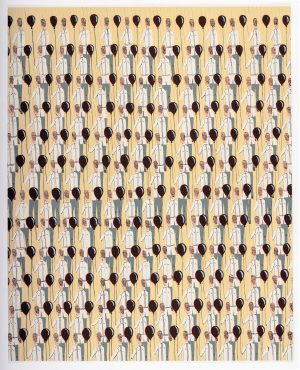 Eight-color lithograph by Ian Davis with a figure in a white suit holding a black balloon in their hand repeated in 12 horizontal rows with 13 figures per row.