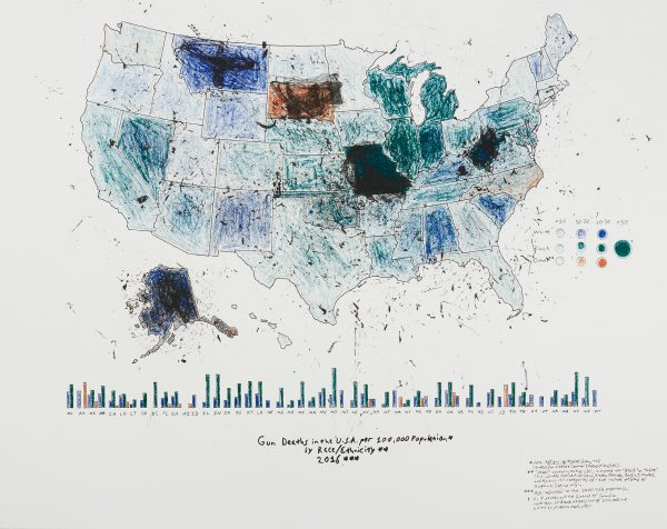 Four-color lithograph by R. Luke Dubois. A map of the United States filled in with rough patches of tints and shades of blue, purple, and orange indicating levels of deaths caused by gun violence by race. The map sits above a bar graph indicating levels of gun-caused death by state.