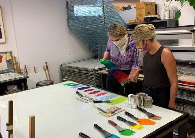 Ellen Lesperance and Tamarind Apprentice Printer Alyssa Ebinger.