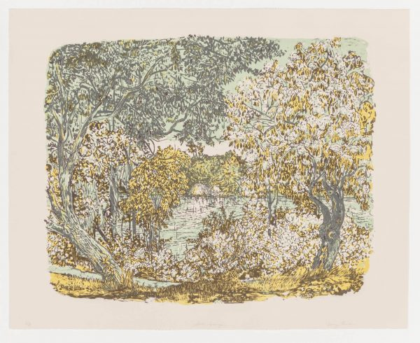 Three-color lithograph by Nancy Friese with a landscape.