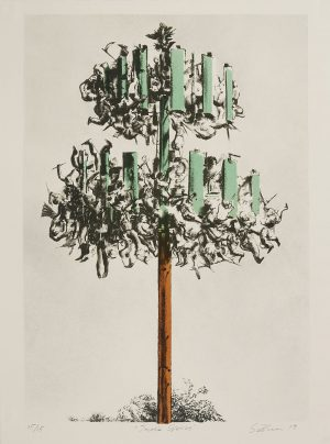 Four-color lithograph by Scott Greene. Tree composed of green and brown wood planks and groups of human limbs in gray tones taking the place of leaves.