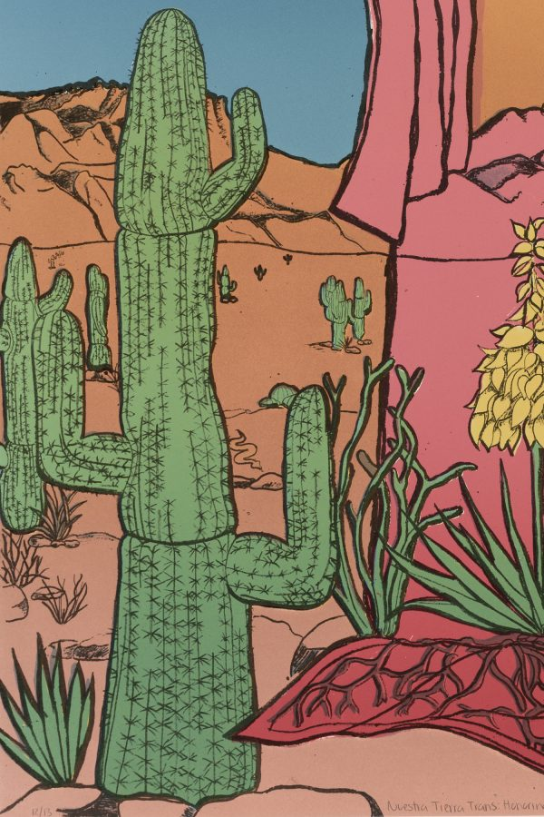 Detail of lithograph by Gaby Hernandez