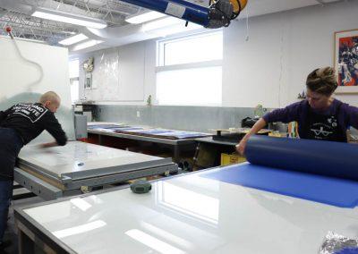 Tamarind Apprentice Printer Alyssa Ebinger and Tamarind Master Printer and Workshop Manager Valpuri Remling