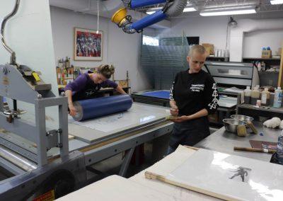Apprentice Printer Alyssa Ebinger and Tamarind Workshop Manager Valpuri Remling