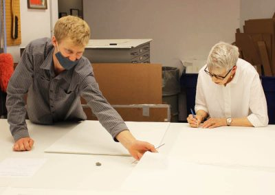 Tipping Points artist Jane Lackey with Tamarind curator Ben Schoenburg