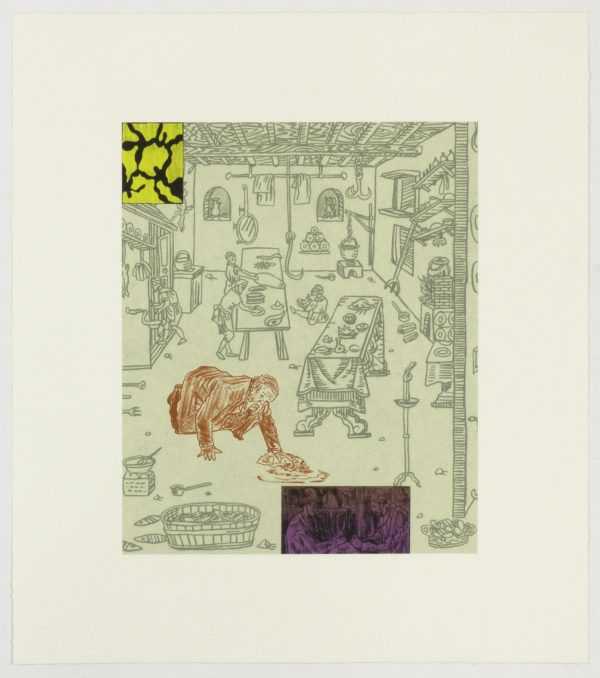 Six-color lithograph with chine collé by MIchael Krueger.