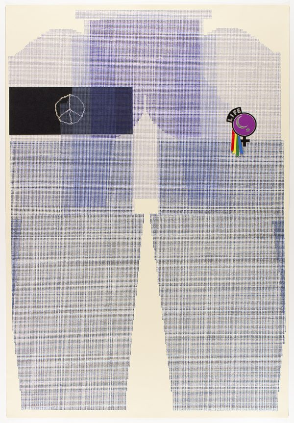 Nine-color lithograph with chiné colle and silverleaf by Ellen Lesperance.
