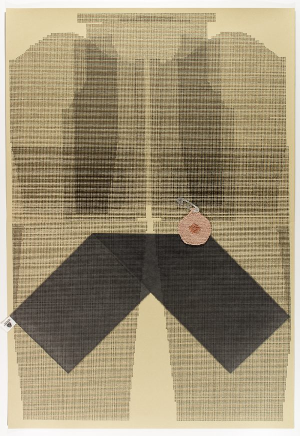 Three-color lithograph with chine collé and hand-knitted element by Ellen Lesperance.