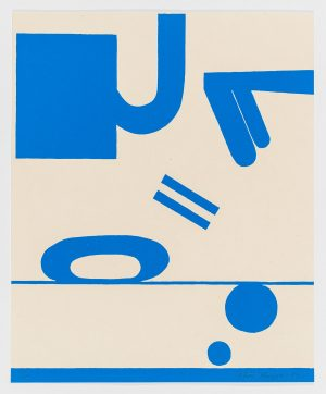 Single-color lithograph by Matt Magee with blue characters and figures scattered across a vertical composition.