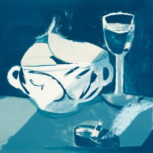 Five-color lithograph by Danielle Orchard; still life in blue tones.