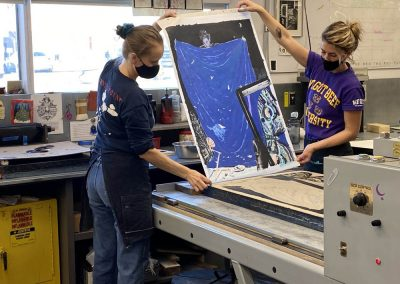 Proofing for Paula Wilson's edition - Tamarind Master Printer and Workshop Manager Valpuri Remling and Tamarind Apprentice Printer Alyssa Ebinger