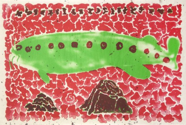 Two-color lithograph by Robert Fichter with a green fish swimming in red water over two brown, triangular rocks.