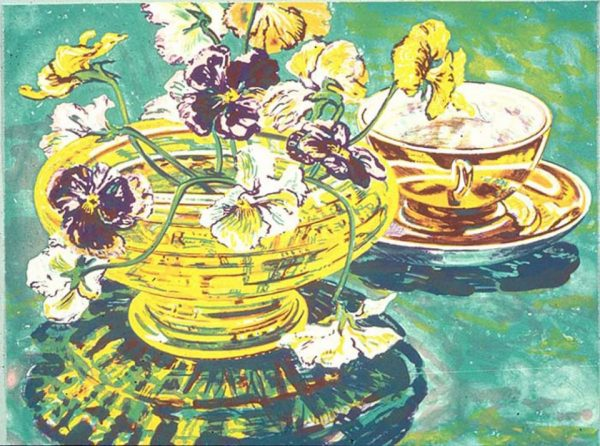 Four-color lithograph with still life by Janet Fish. A yellow bow with a green base and yellow and purple tea cup on a saucer sit at a diagonal from the lower left to upper right on a green background. The bowl holds a bouquet of white, yellow, and purple flowers.