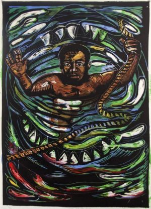 Six-color lithograph on Mulberry paper by Eric Avery. A Black man is encircled by a shark's mouth from the chest down. He raises his arms and holds a rope with a frayed end in his left hand.