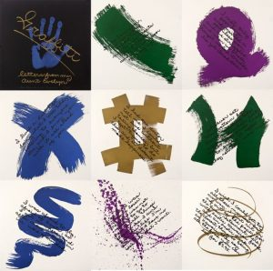Series of nine lithographs by Barton Benes with painterly tags in blue, green, purple, and brown arranged in rows of three.