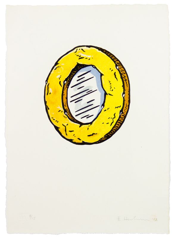 Six-color lithograph by Edward Henderson with cake and yellow frosting in the shape of an O.
