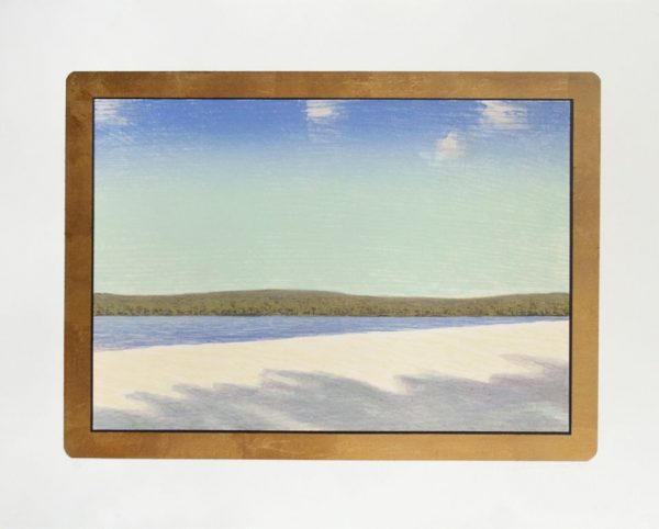 Fifteen-color lithograph by John Beernman with a cropped view of a shoreline and sky in blue and beige tones framed by a gold-leaf rectangle.