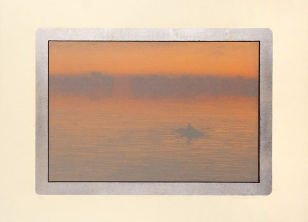 Lithograph by John Beerman with a seascape in orange, blue, and purple tones framed with a rectangle in silver leaf. A figure paddles a row boat to the right of the frame.