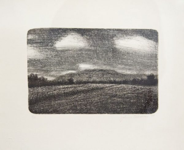 Lithograph by John Beernman with a landscape in gray tones with mountains across the horizon line in the mid ground.