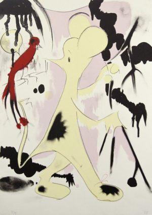 Four-color lithograph by Ellen Berkenblit.