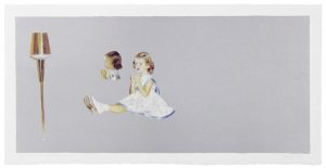 Five-color lithograph by Harrell Fletcher. A girl in a white dress with blue trim sits in a three-quarters view with her legs extended.