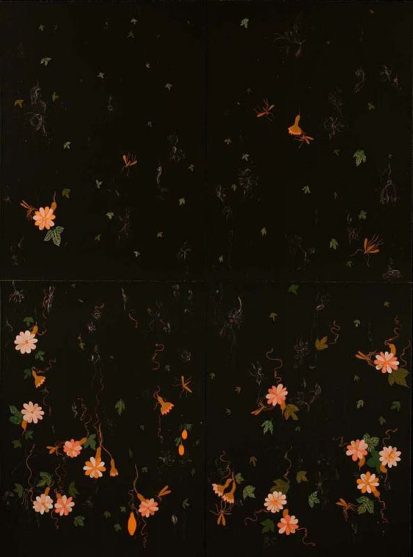 Six-color lithograph by Nancy Friedemann with flowers in tints of coral and white floating from the top of the composition at various depths of field.