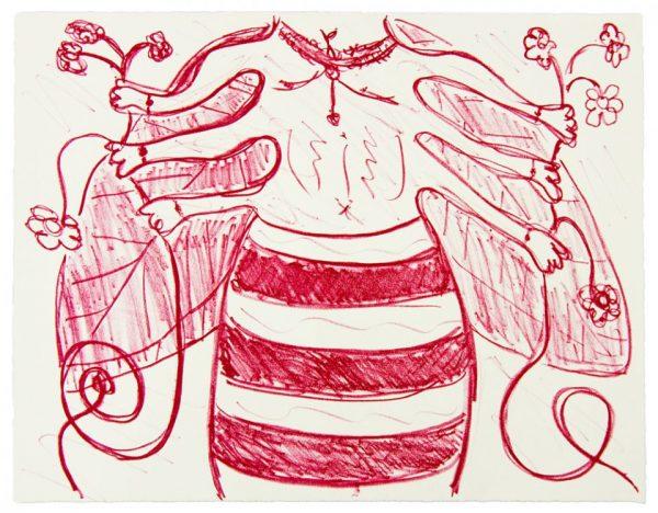 Single-color lithograph by Yoshimi Hayashi.