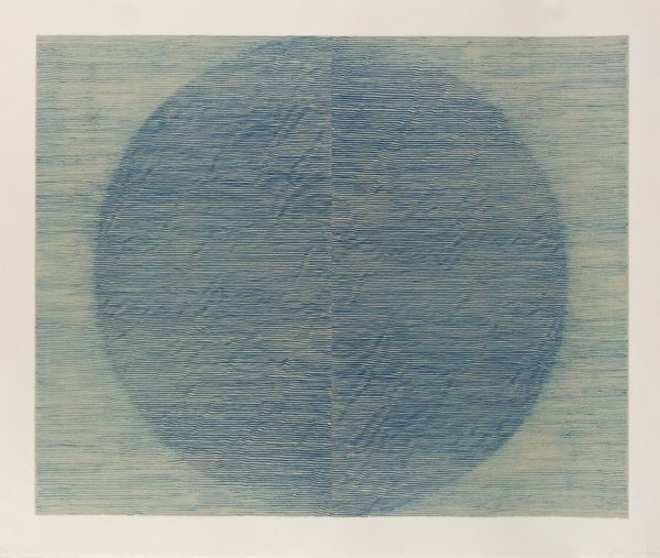 Single-color lithograph with chine collé by Linn Meyers.