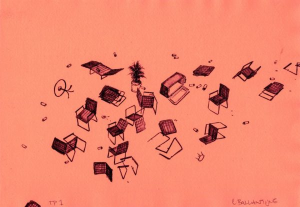 Two-color lithography by Chris Ballantyne. Picnic implements including lawn chairs, tables, a cooler, and potted plant in black and subtle red tones scattered against a coral background.