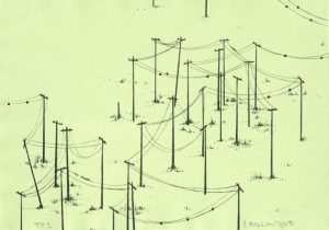 Lithograph by Chris Ballantyne with a network of black power lines and poles zig zagging across a pale lime green background.