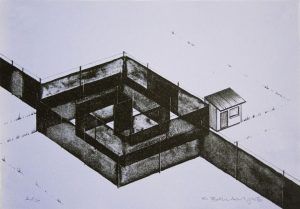 Two-color lithograph by Chris Ballantyne depicting the aerial view of a diagonal wall with a square maze connected to a small shed on a lavender background.