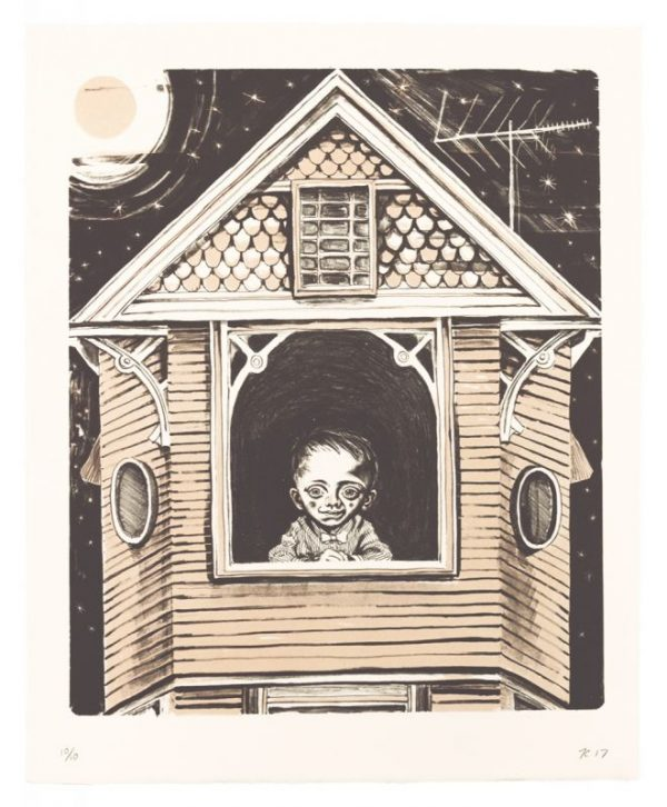Two-color lithograph by Timothy Cummings. A boy with a large heart-shaped face, high forehead, and gaunt eyes clasps his hands and looks out of a window in a house with walls tinted a pale salmon-pink.