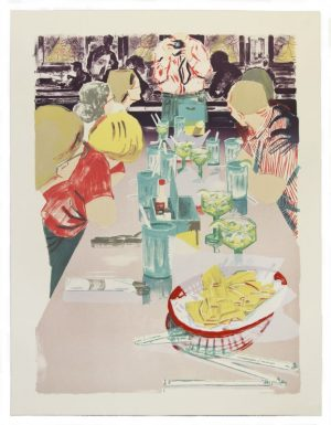 Lithograph by Stella Ebner with a group of people gathered around a restaurant table with a gray table cloth. A photographe depicted from the neck down holds a camera as if preparing to make an image of a group of diners seated at a long table. 4 figures on the left side and 2 figures on the left side of the table look towards the photographer.A bowl of tortilla chips sits in the immediate foreground.