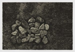 Single-color lithograph by Nina Elder with details of a mine in Silver City, New Mexico. Print features an aerial view of a pile of rock and debris in the lower left of a horizontal composition. Cross hatching in varying densities to suggest various gray tones indicate changes in elevation of the surrounding topography.