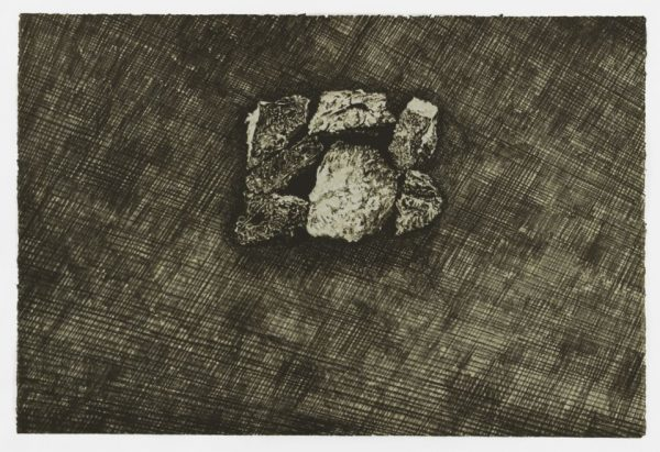Single-color lithograph by Nina Elder with detail of a mine in South Dakota. Print features an aerial view of a pile of rock and rubble in the upper center of a horizontal composition. Dense cross hatching suggests the surrounding landscape.