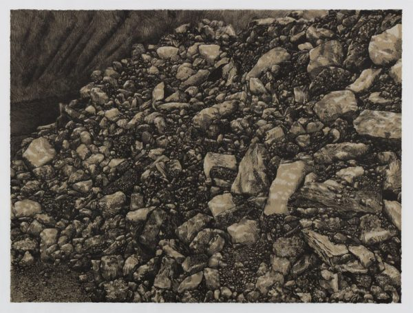 Two-color lithograph by Nina Elder with details of La Bajada mine in New Mexico. A pile of rock and debris in gray and black tones cascades from the upper left to the lower right of a horizontal composition. Part of the quarry wall is visible in the upper right corner.