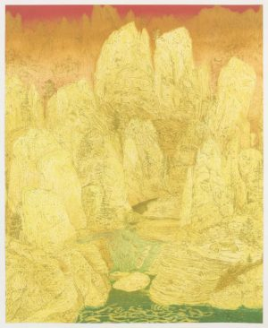 Eight-color lithograph with landscape by Michael Krueger.