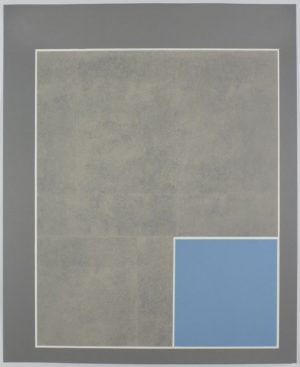 Three-color lithograph on white Somerset Satin paper by David X. Levine. Print features a series of 3 nested rectangles in tones of gray and blue.The second grary rectangle and blue rectangle are placed off center and to the lower right in the outer rectangle.