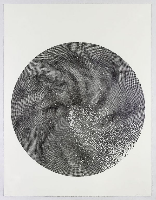 Two-color lithograph with pearlescent dusting by Linn Meyers.