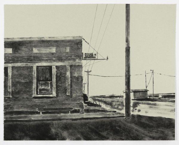 Single-color lithograph by David Rathman.