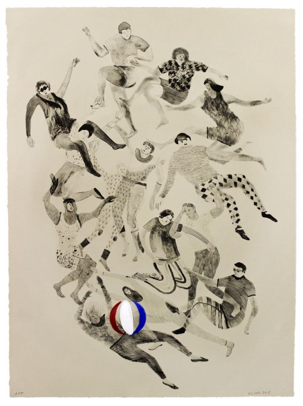 Single-color lithograph with hand-painted collage element by SCUBA: Sandra Wang and Crockett Bodelson. A group of people in gray tones wearing a variety of casual clothing is grouped in a jumble across a vertical composition. A white, red, and blue beach ball sits on a flailing figure near the bottom center of the frame.