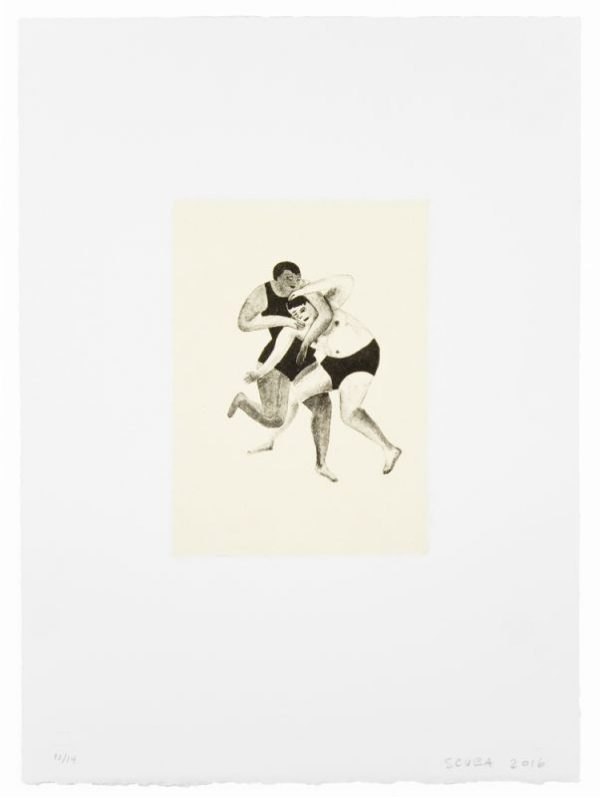 Single-color lithograph with chine collé by SCUBA: Sandra Wang and Crockett Bodelson.