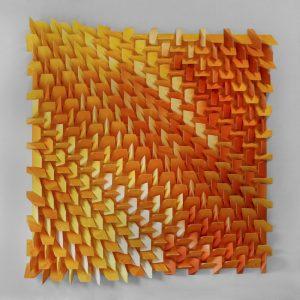 Three-dimensional, three run, five-color monoprint collage by Matthew Shlian.