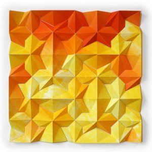 Three-dimensional, five-color lithographic monoprint collage by Matthew Shlian