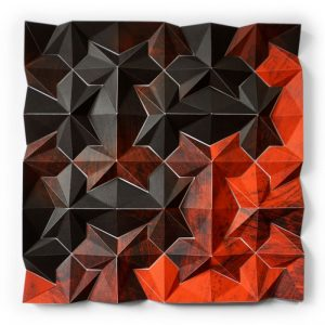 Three-dimensional, five-color lithographic monoprint collage by Matthew Shlian.