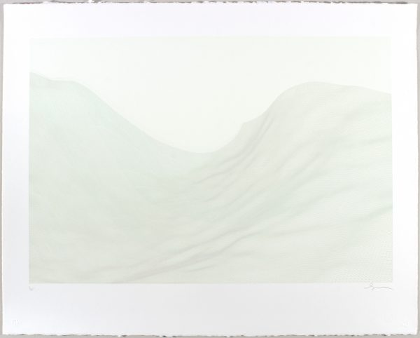 Four-color lithograph by Matthew Shlian pictured. Lithograph features a geometric parabola in green and gray tones on bisque Revere suede paper.