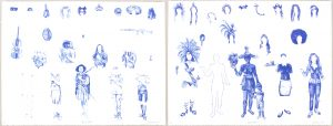 Two-color lithograph by Tiago Gualberto pictured with drawings in blue tones on white Somerset satin paper. Image features a diptych of two-color lithographs presenting 3 rows of drawings in blue tones. The figures include a nondescript outline of a human figure surrounded on the sides and top by examples of indigenous Brazillian dress and hairstyles along with examples of non-indigenous clothing, hair styles, and accessories. The individual drawings include rectangular tabs that suggest that these are pieces for the audience to layer onto a paper doll.