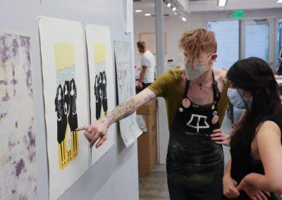 Zhara Marwan with Tamarind Student Printer Brian Wagner