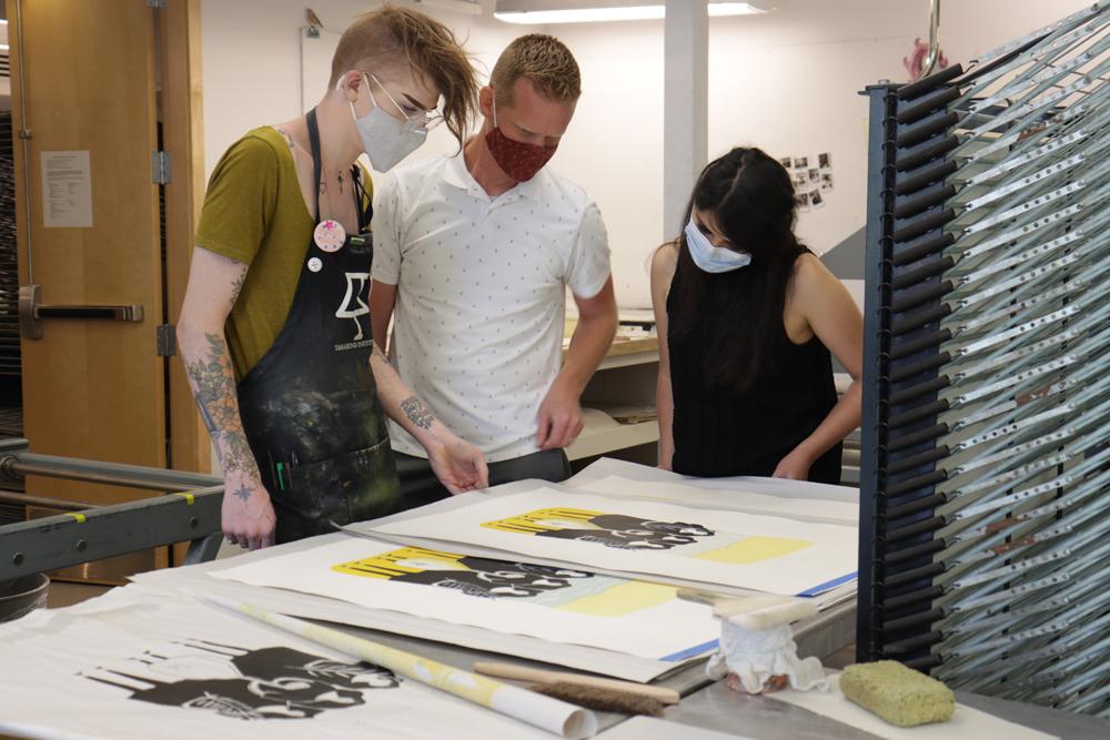 Zhara Marwan with Tamarind Student Printer Brian Wagner and Tamarind Education Director Brandon Gunn